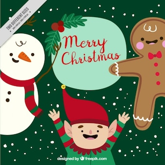 Lovely background of hand drawn christmas characters