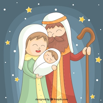 Lovely background of stars with nativity scene