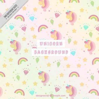 Lovely background of unicorns in soft tones