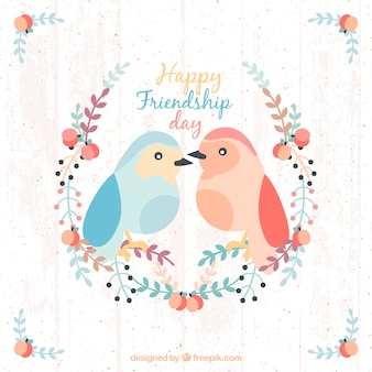 Lovely birds with floral details friendship background