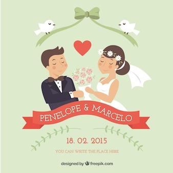 Lovely bride and groom illustration