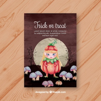 Lovely card with girl with pumpkin costume