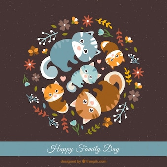Lovely cats together family day card