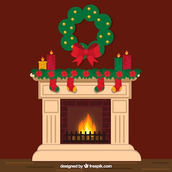 Lovely chimney with christmas decoration