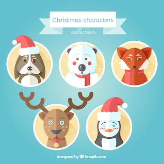 Lovely christmas animals in flat design