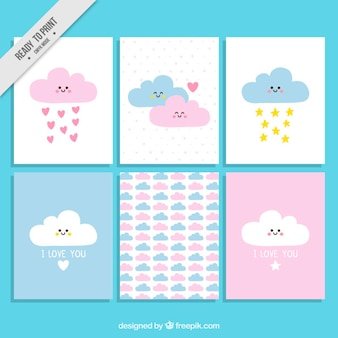Lovely clouds love cards set