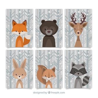 Прекрасный сбор лесных животных в стиле винтаж