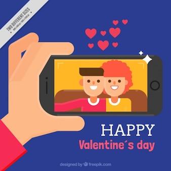 Lovely couple selfie background in flat design