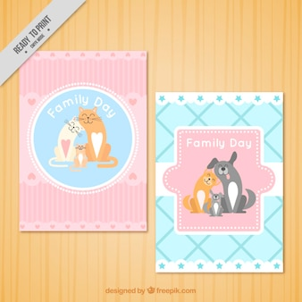 Lovely family day cards with pets