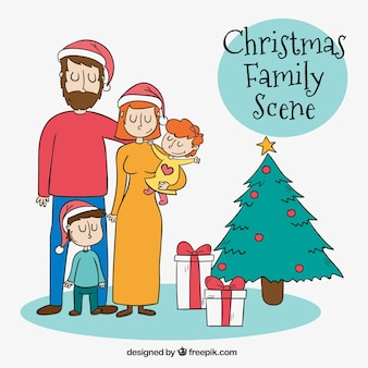 Lovely family scene with tree and gifts