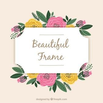 Lovely floral frame with flat design