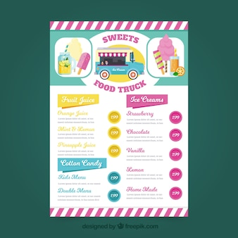 Lovely food truck menu with ice creams