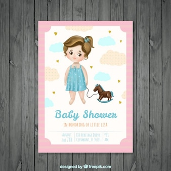 Lovely girl with a toy baby shower card in watercolor effect