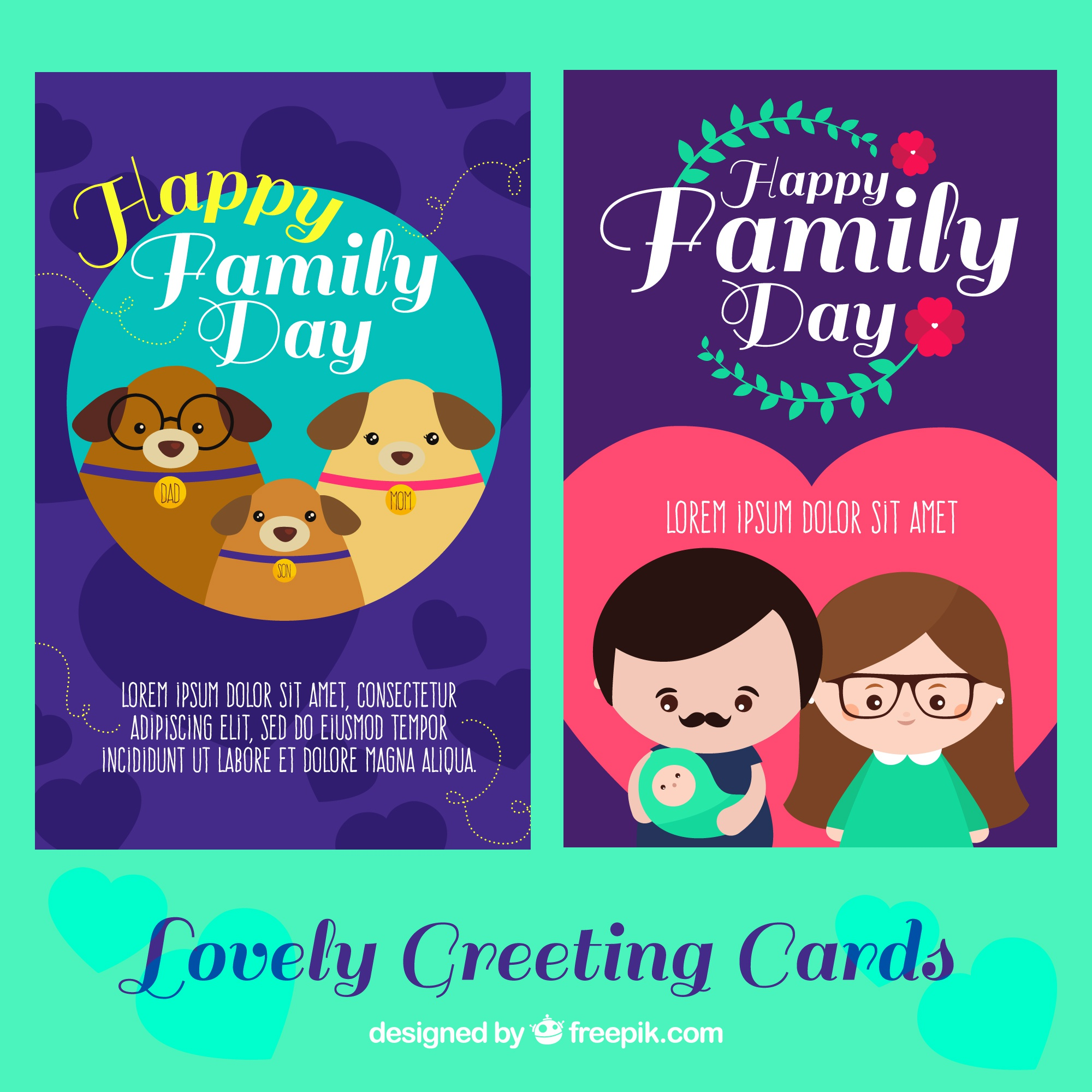 Lovely greeting cards for international day of families