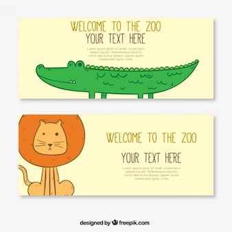 Lovely hand drawn crocodile and lion banners