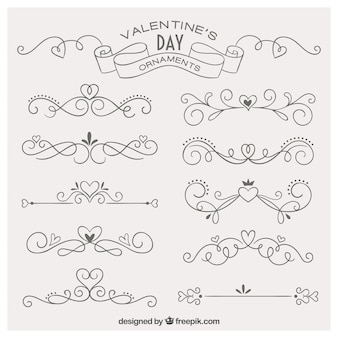 Lovely hand drawn ornaments for valentine day
