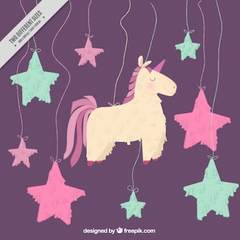 Lovely hand drawn unicorn decoration with stars background