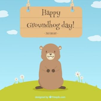 Lovely happy groundhog day background