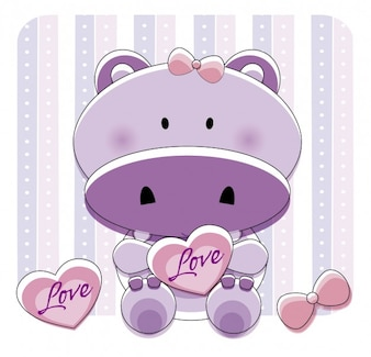 Lovely hippo with hearts