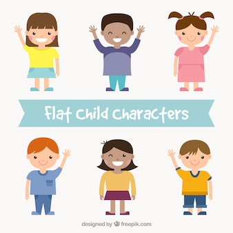 Lovely kids in flat design