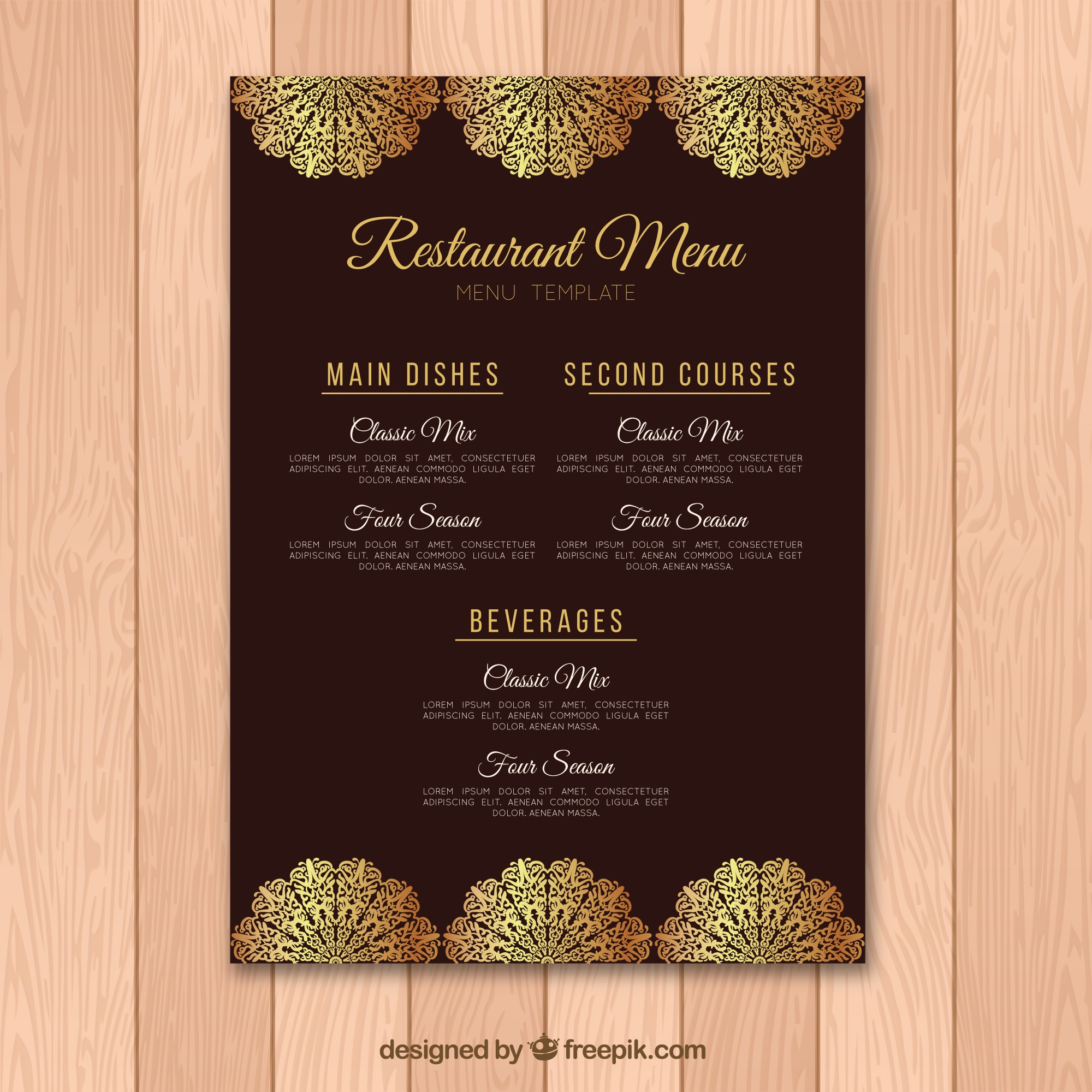 Lovely menu template with golden elements