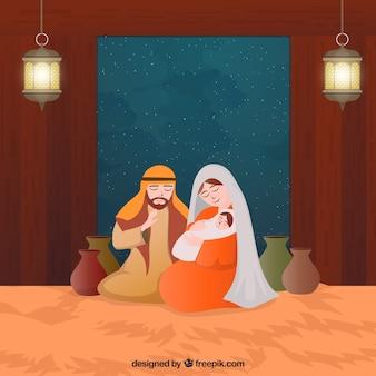 Lovely nativity scene with night sky