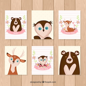 Lovely pack of cards with hand drawn animals