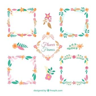 カラフルな花のフレームの素敵なパック
