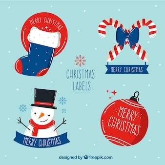 Lovely pack of hand drawn christmas labels