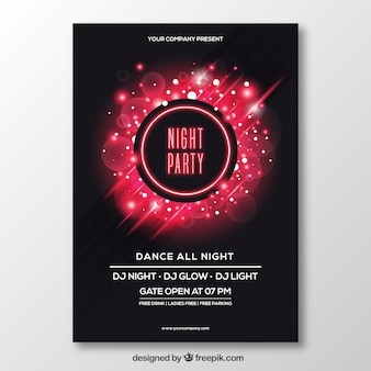 Lovely party poster with neon style