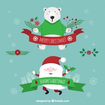 Lovely santa claus and polar bear ribbons