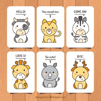 Lovely set of animal cards with kawai style