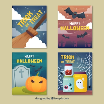 Lovely set of flat halloween cards