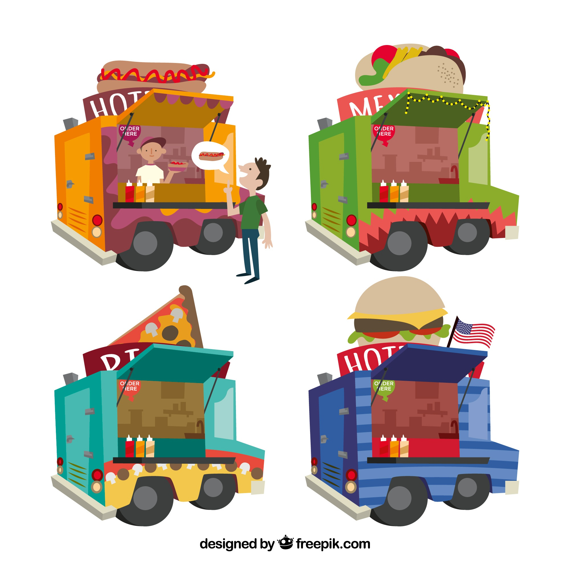 Lovely set of food truck with fun style