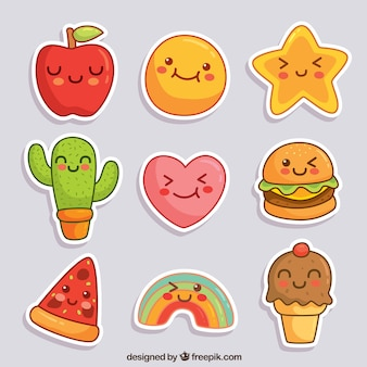 Lovely stickers with smiley faces