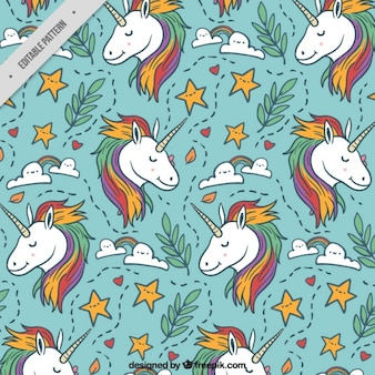 Lovely unicorn with hand drawn elements pattern