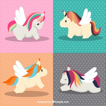 Lovely unicorns in different poses