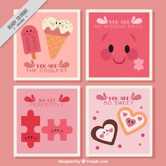 Lovely valentine character cards