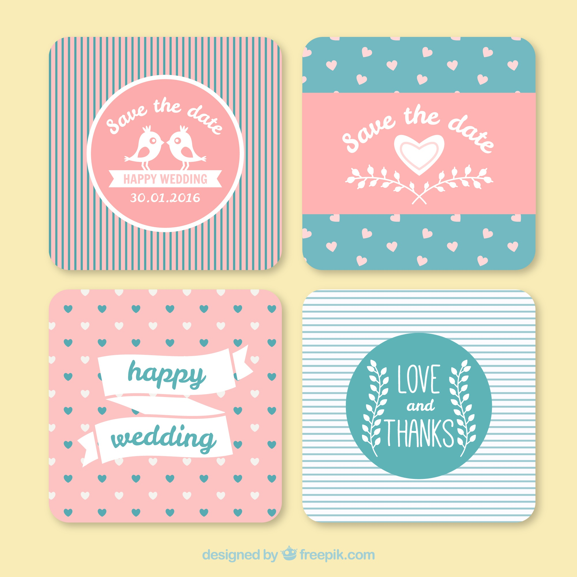 Lovely vintage wedding invitations with lines and hearts