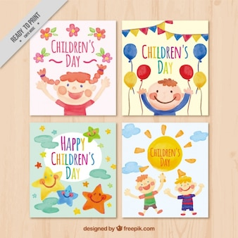 Lovely watercolor cards of children's day