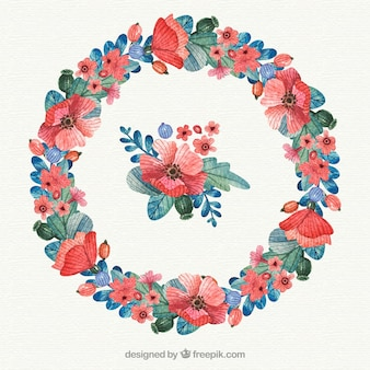 Lovely watercolor circular floral frame