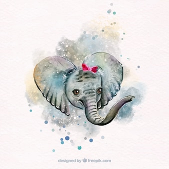 Lovely watercolor elephant