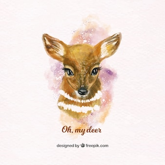 Lovely watercolor fawn
