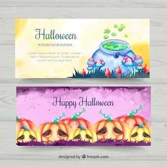 Lovely watercolor halloween bannersq