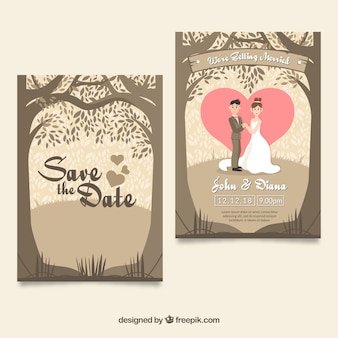 Lovely wedding card with couple and trees