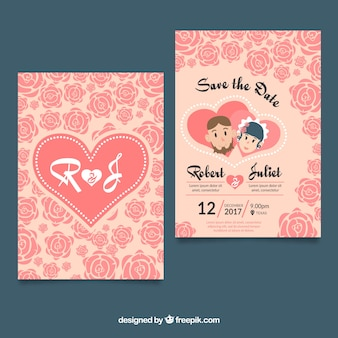 Lovely wedding card with hearts and roses