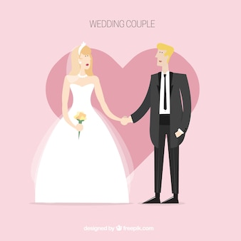 Lovely wedding couple with heart background