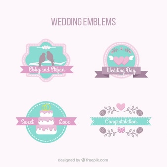 lovely wedding emblems in pastel colors