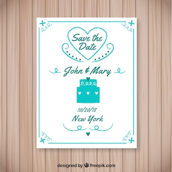 Lovely wedding invitation with cake and heart