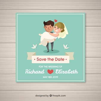 Lovely wedding invitation with happy couple